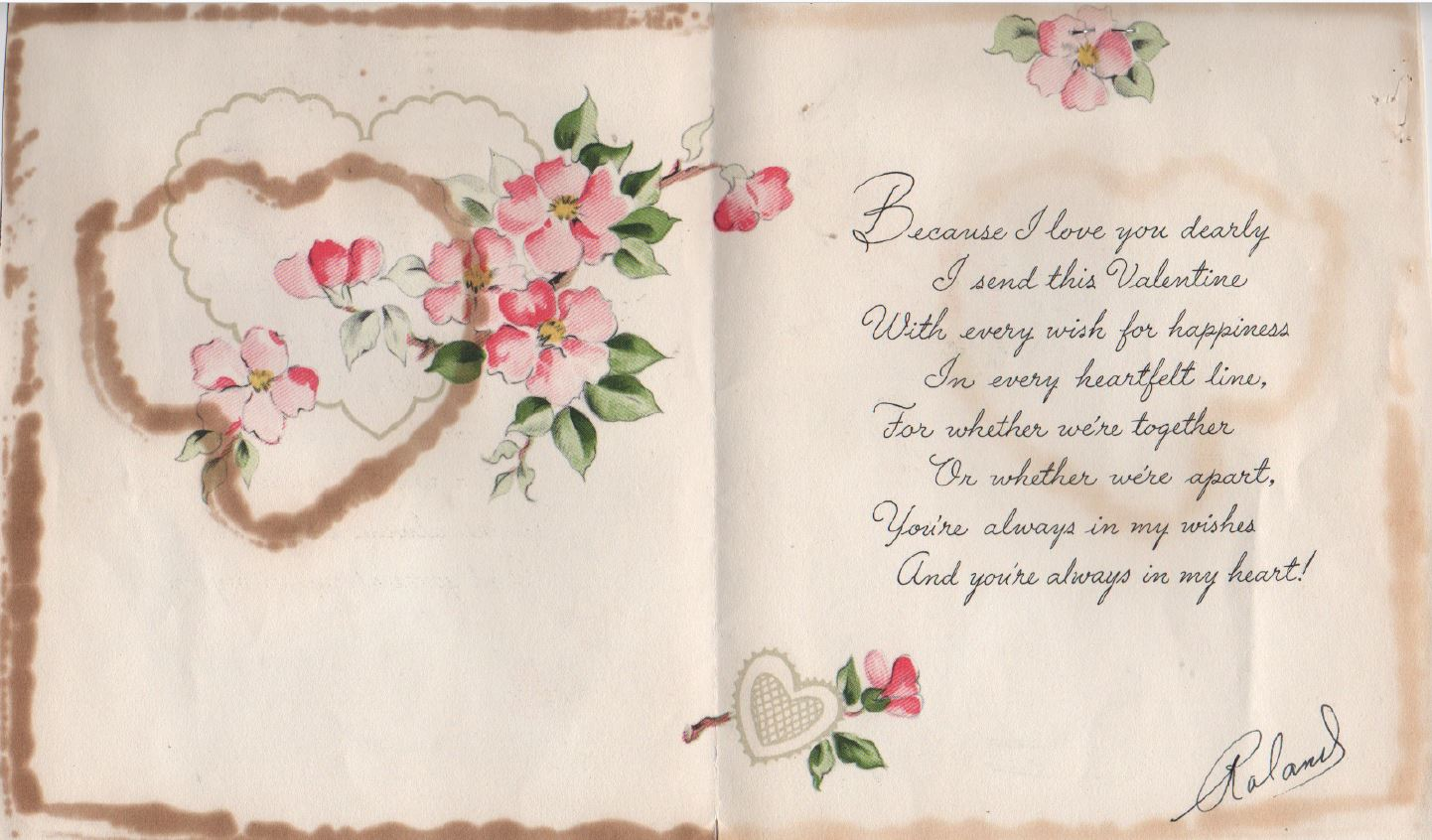The inside of Roland's Valentine to Earlene, which he's given her every year since 1948.