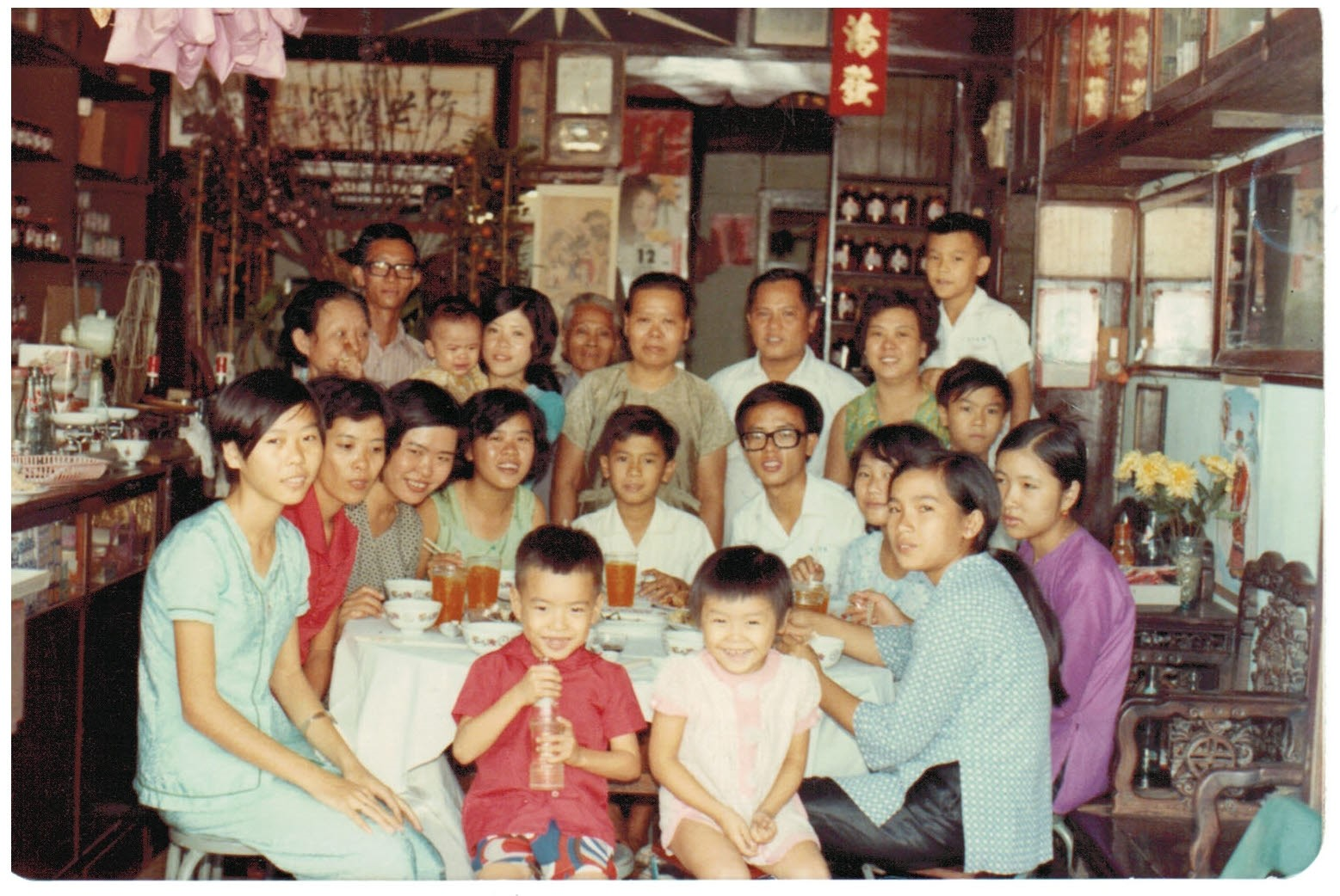 The whole family in the drugstore, about 1973.