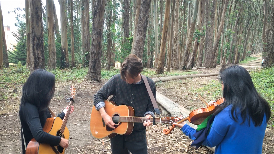 What could be more joyful than carrying our musical instruments into the woods and singing to the trees next to    Andy Goldsworthy's Wood Line   ?