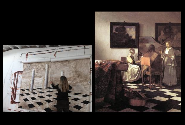 left: early stages of central panel for large mural    right:  The Concert  by Vermeer