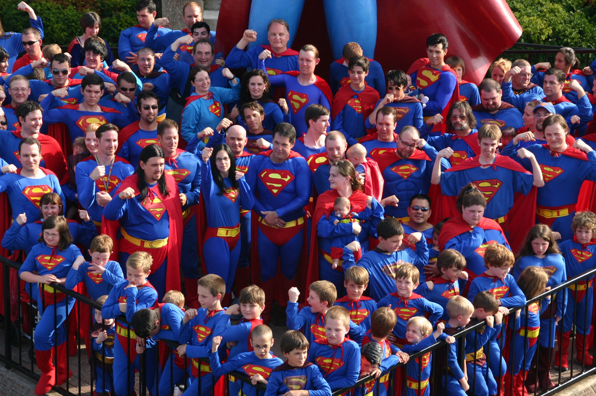 2008 Superman Celebration with 122 fans dressed as Superman to set World Record. Bob was the only BALD Superman!