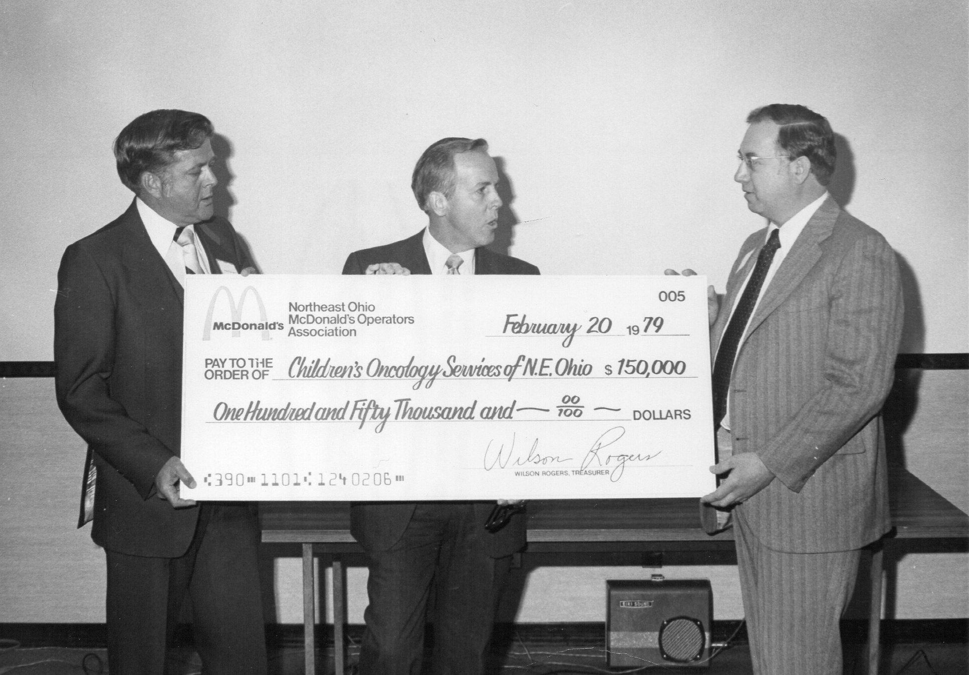 February 20, 1979, from left: Joseph Benden, president of the Northeast Ohio McDonald's Operators Association; Don Smith, McDonald's owner/operator and VP of Children's Oncology Services of Northeast Ohio (COSNO, RMH founding organization); Stephen Zayac, president of COSNO.