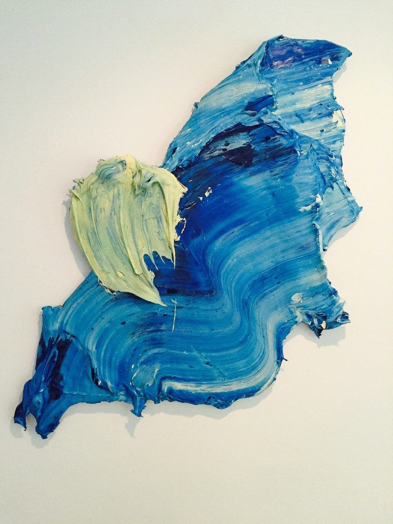 Thaypan , 2016, Polymer and pigment mounted on aluminum, 80 × 45 × 3 in, 203.2 × 114.3 × 7.6 cm.