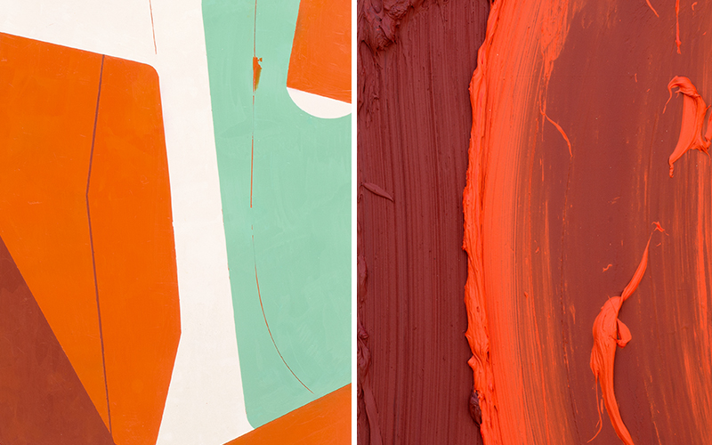 Left: Celia Johnson, 'Faiche', 2016 (detail), Encaustic on birch panel (16H x 14W inches) Right: Donald Martiny, 'Kpati', 2017 (detail), Polymer and pigment mounted on aluminum (49H x 26W inches)
