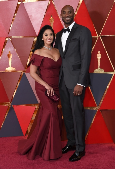 "Kobe Bryant and wife Vanessa Bryant. Beautiful Couple. Kobe was won best animated short film for ""Dear Basketball"""