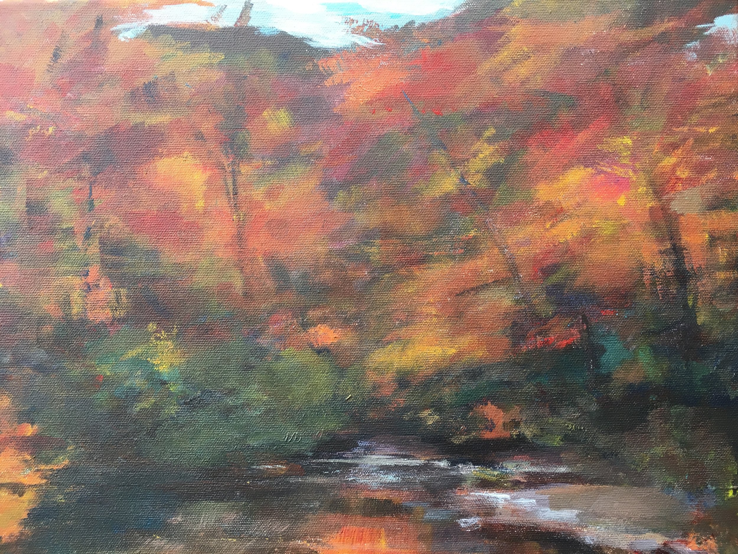 "12x16 oil on canvas,""Fall on the Chattahoochee"""