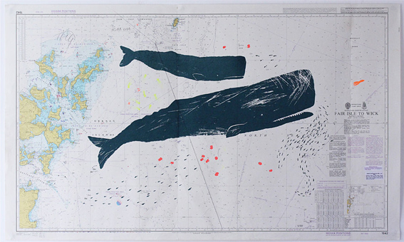 Gerry's whale prints onto vintage sea maps, used at sea and annotated by navigators.