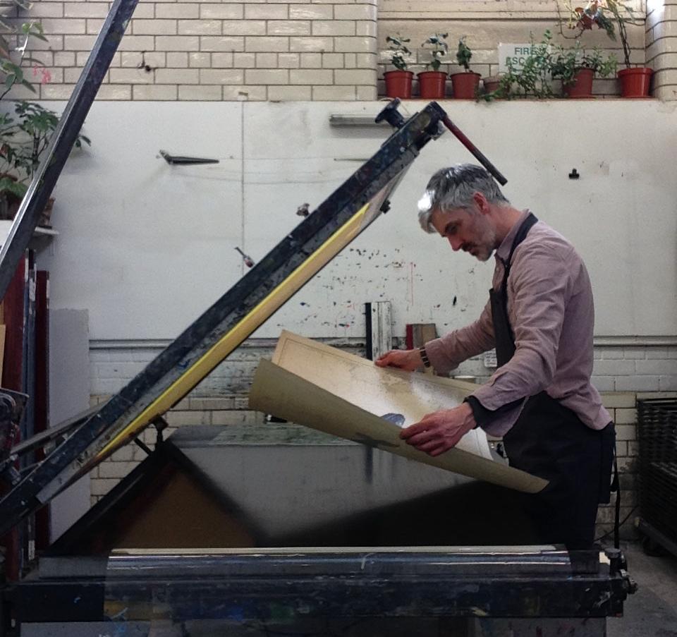 Gerry Turley making his new Humpback Whale screen prints at Edinburgh Print Studio