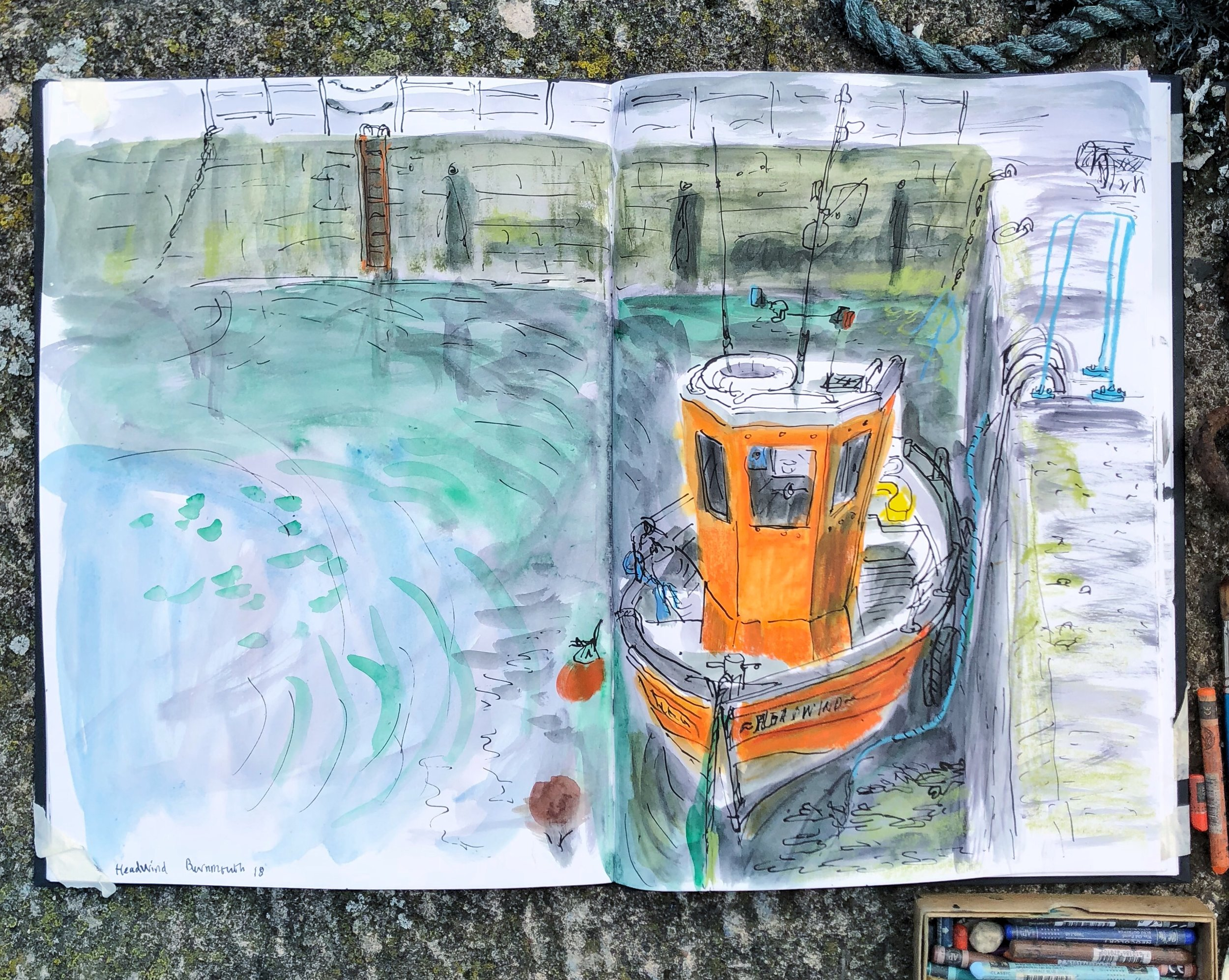 Helen Stephens #walktosee Burnmouth Harbour 2018