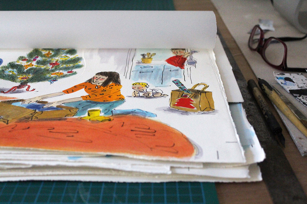 helen stephens artwrk at desk how to hide a lion at christmas