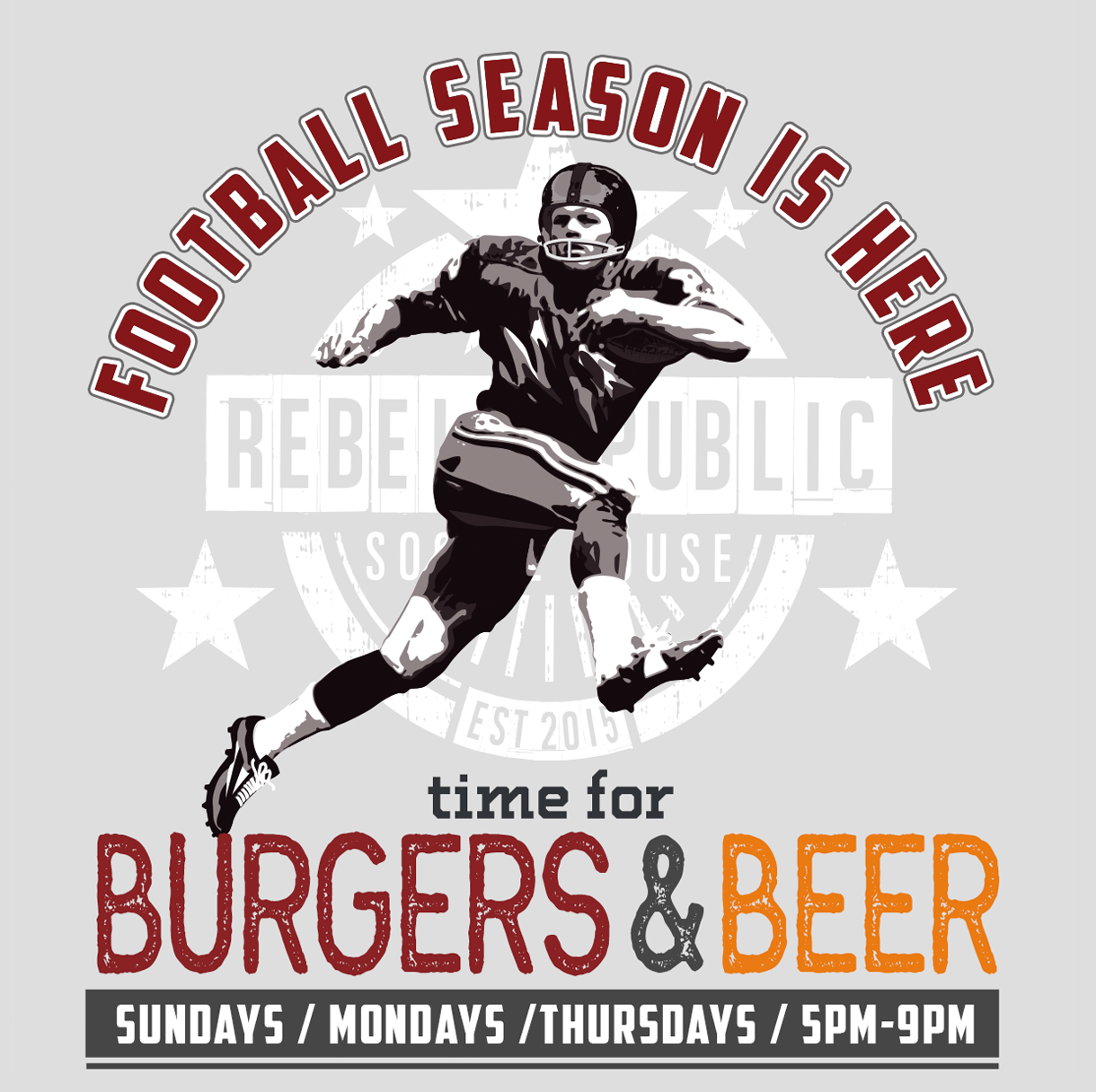 FOOTBALL SEASON IS HERE... TIME FOR BURGERS & BEER - Sundays | Mondays | Thursdays | 5pm-9pmLittle Rebel Burger - $8House Burger - $8All Beer Pints - $5Wings - $5Rebel Makers Discount = A Shot of Old Grand-Dad & Milwaukee's Best