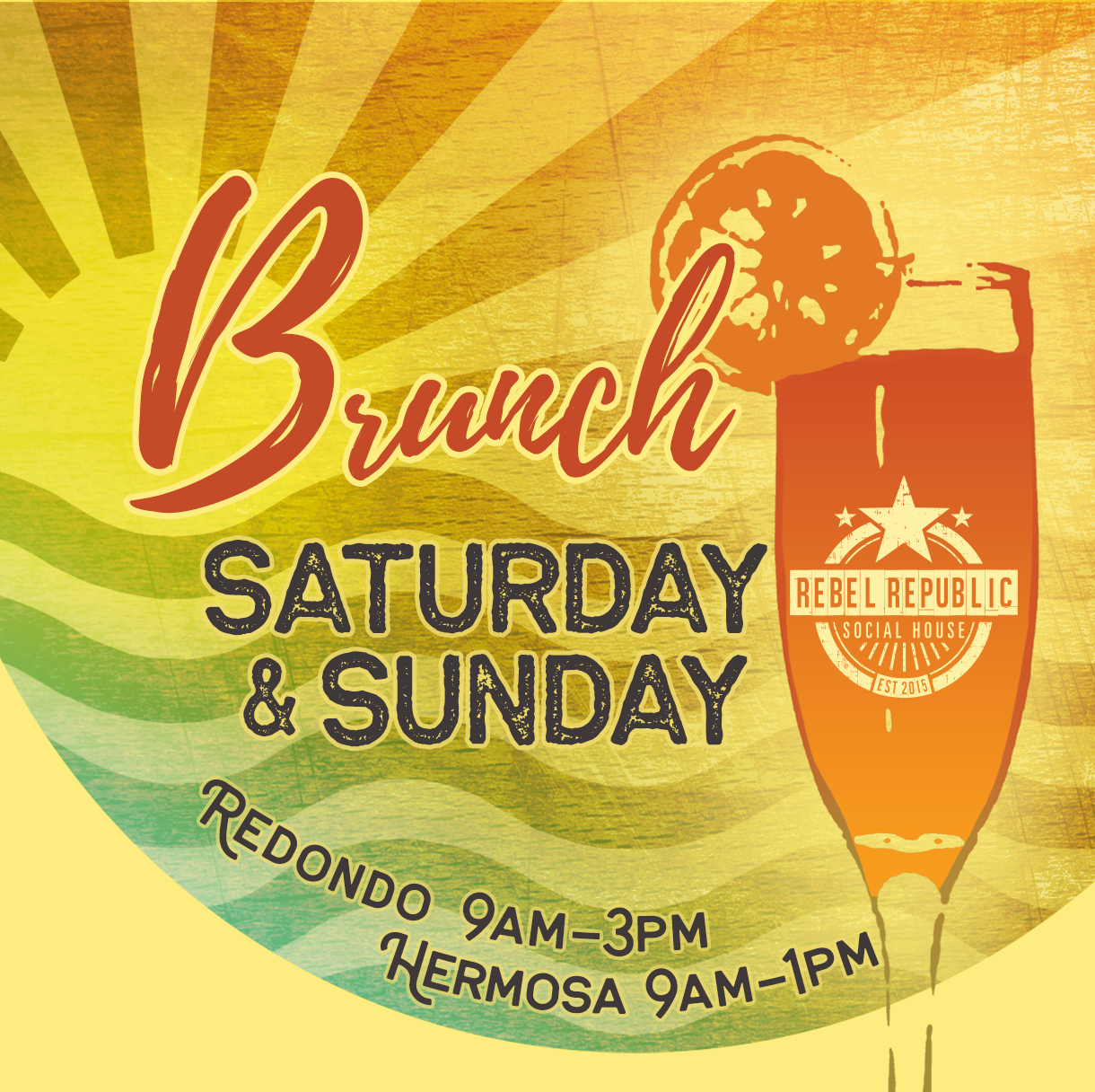 Brunch - SATURDAY & SUNDAYRedondo 9am-3pmHermosa 9am-1pm$15 ENDLESS MIMOSASAvailable with purchase of Brunch Entrée. Cannot be combinedwith other offers. Excludes discounted and promotional itemsSPECIALTY SANGRIASCOLD BREW COCKTAILSBRUNCH SPECIALTIES by Chef Nael