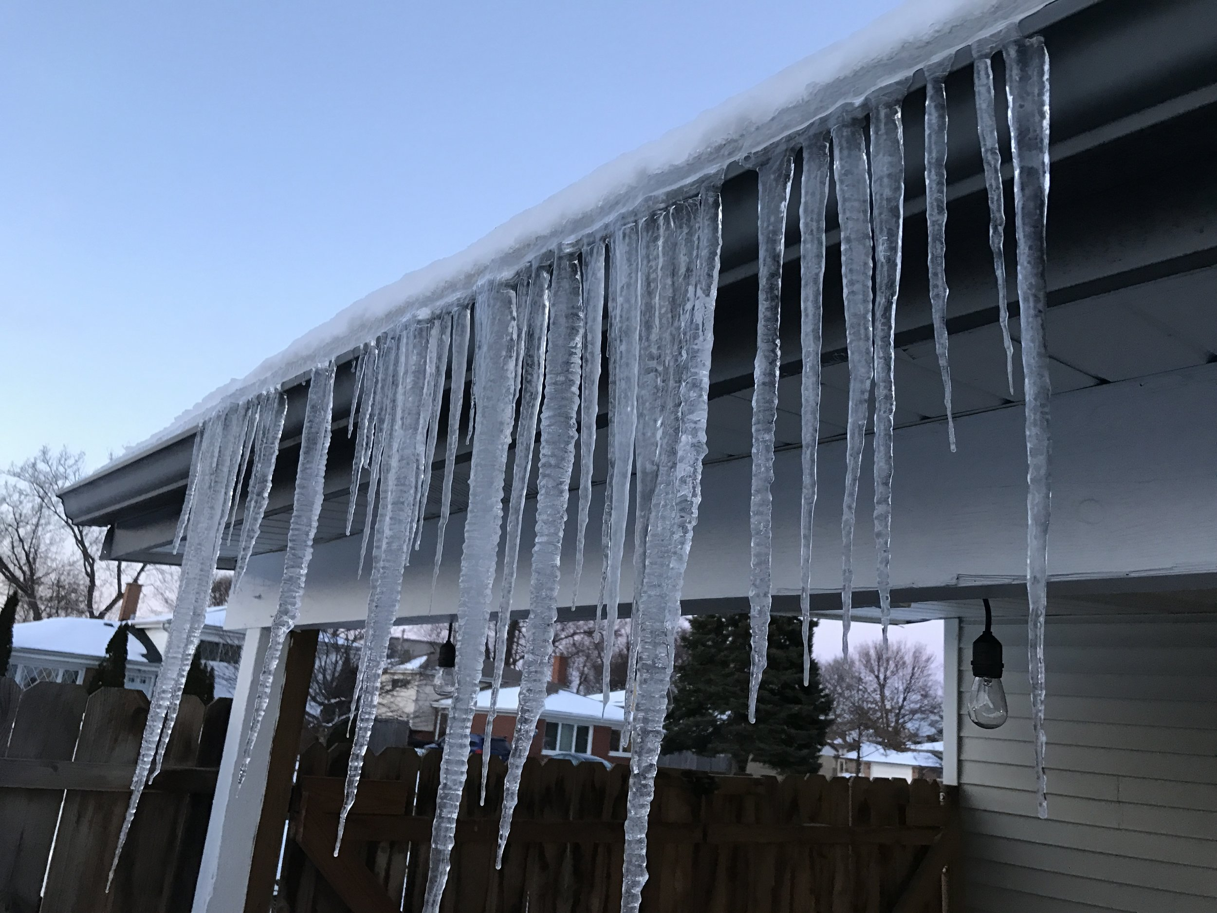 Photographed here is some Ice Damming that has formed on a home in Addison, IL