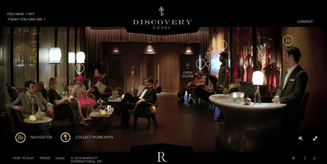 RENAISSANCE'S DOORS OF DISCOVERY  For Marriott's Renaissance hotel chain, we gamified the process of discovering their properties through virtual tours, with keys opening doors and exciting rewards. We were at the cusp of Virtual Reality experiences and the integration of powerful game mechanics made the contest wildly successful. Players could find keys by engaging on social media so Renaissance could further increase their brand awareness.