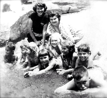 MY GRANDMOTHER, LILLIE GRACE TOP LEFT AND HER SISTER JEWEL WITH CHILDREN AND COUSINS SWIMMING IN COMMISSIONERS CREEK. (MY MOTHER GLENDA, TOP ROW OF CHILDREN IN THE MIDDLE