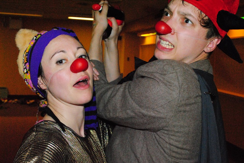 Kira Sheppard and Kyle Bustin in Clown Through Mask, 2013. Photo by Sara Tilley.