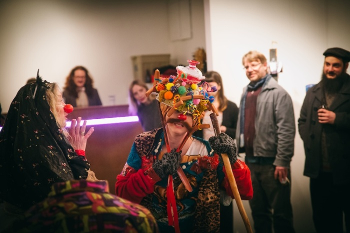 Sacred Mixture, Wiener Shaman performance at Eastern Edge Gallery 2016, with Bernardine Stapleton and Vanessa Cardoso Whelan. Photo by Knoah Bender.