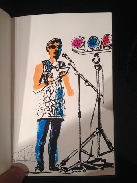 Live sketch by Cam Christiansen of my reading at the Literary Death Match at Wordfest in Calgary, 2015.