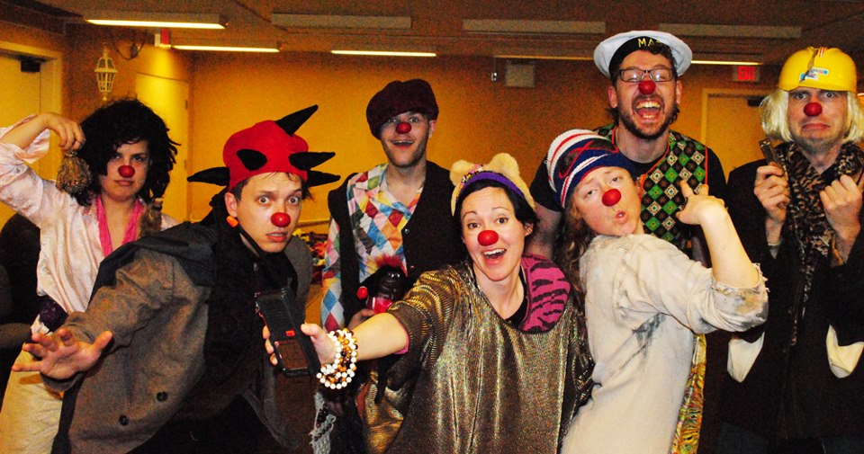 Clown through Mask students in St. John's NL. Photo by Sara Tilley.