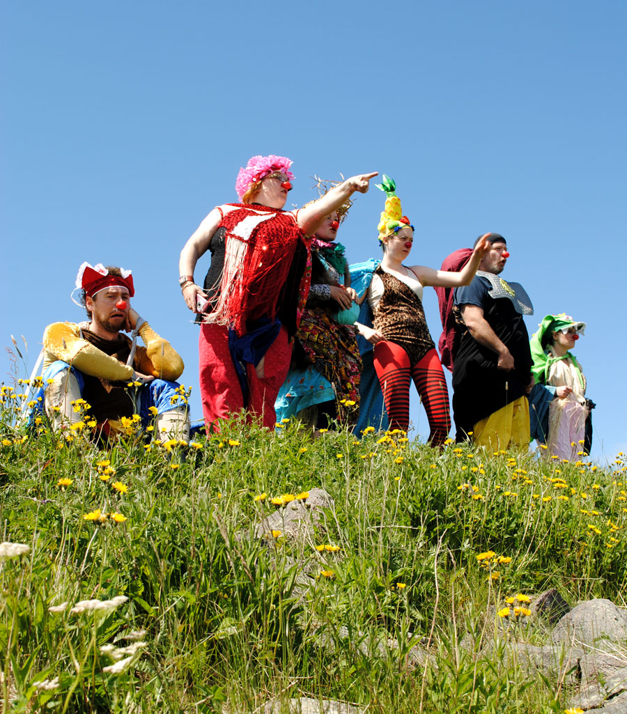 Final day of Clown through Mask training, picnic on Signal Hill. Fruithead and the gang spotted whales! Photo by Elling Lien.