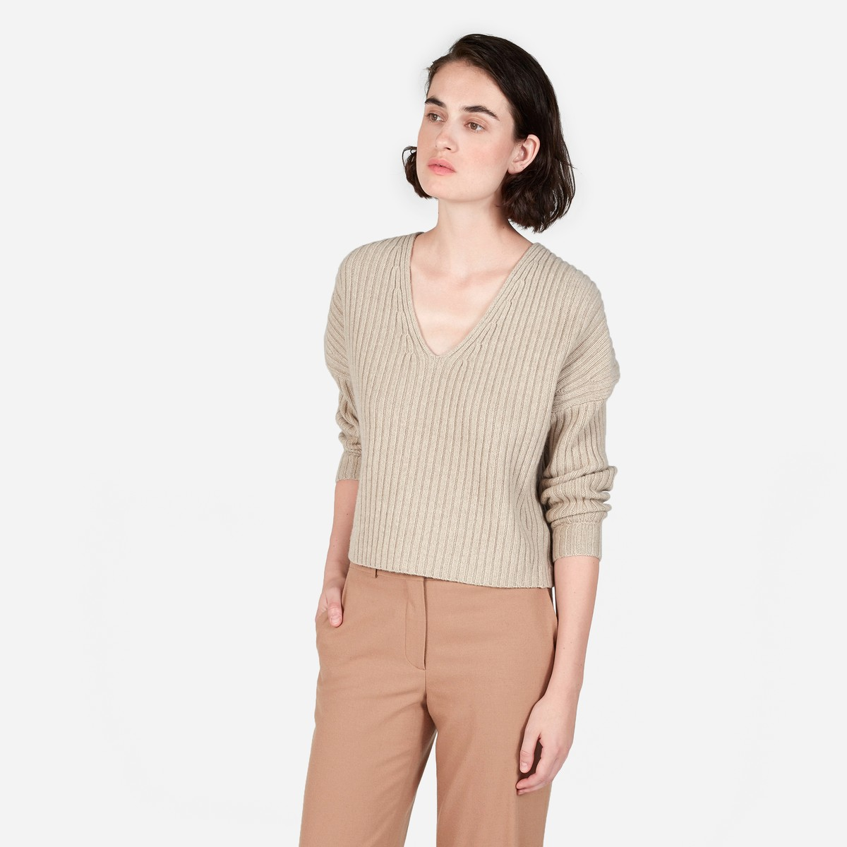 The Ribbed Wool-Cashmere Crop V-Neck, Everlane