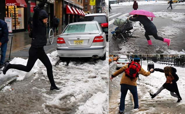 the epic, unending battle of New Yorker vs. Slush Puddle there can be only one winner. Spoiler alert: it's always Slush Puddle (Photo Credit: Robert Sabo/New York Daily News)