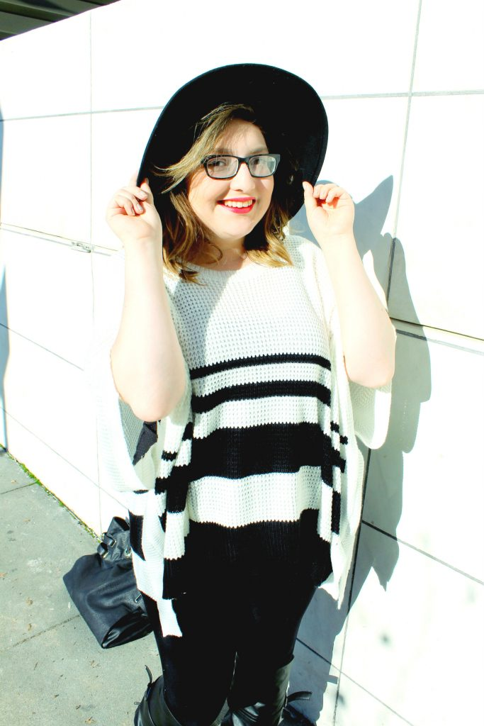 Black and White Striped Poncho Sweater