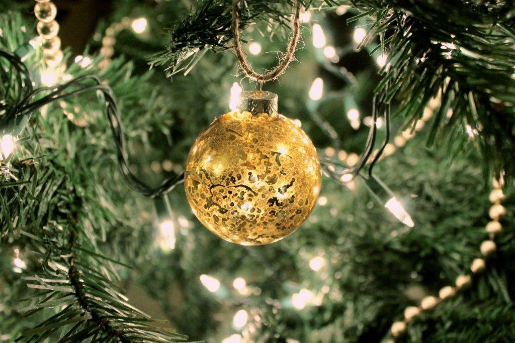 Christmas Tree Ornament Gold 2015 Glass