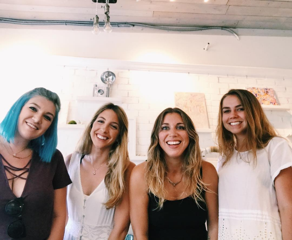 Our creative team pictured L to R: Summer Canova (assistant), Maria Fornieles Toledo (assistant), Clarissa Butler (founder & creative director), Ellie Glade (assistant).