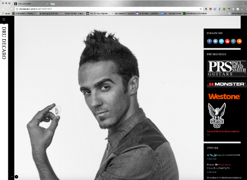 Dru's website  contains information about his endorsements, social media connections, press, music, a personal journal & Tumblr, videos, a photo gallery, and Dru's own line of products. Pictured: Dru holding a guitar pick with his logo.