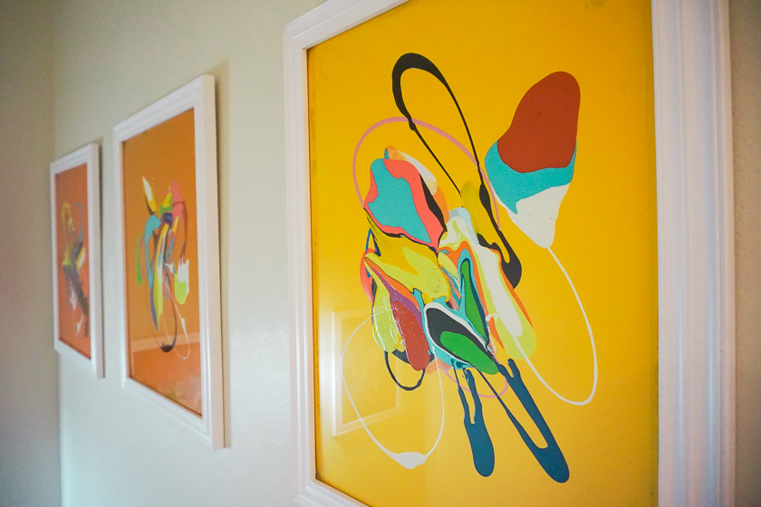 Charlie E. - Splat Painting (5 of the Series) Framed in White