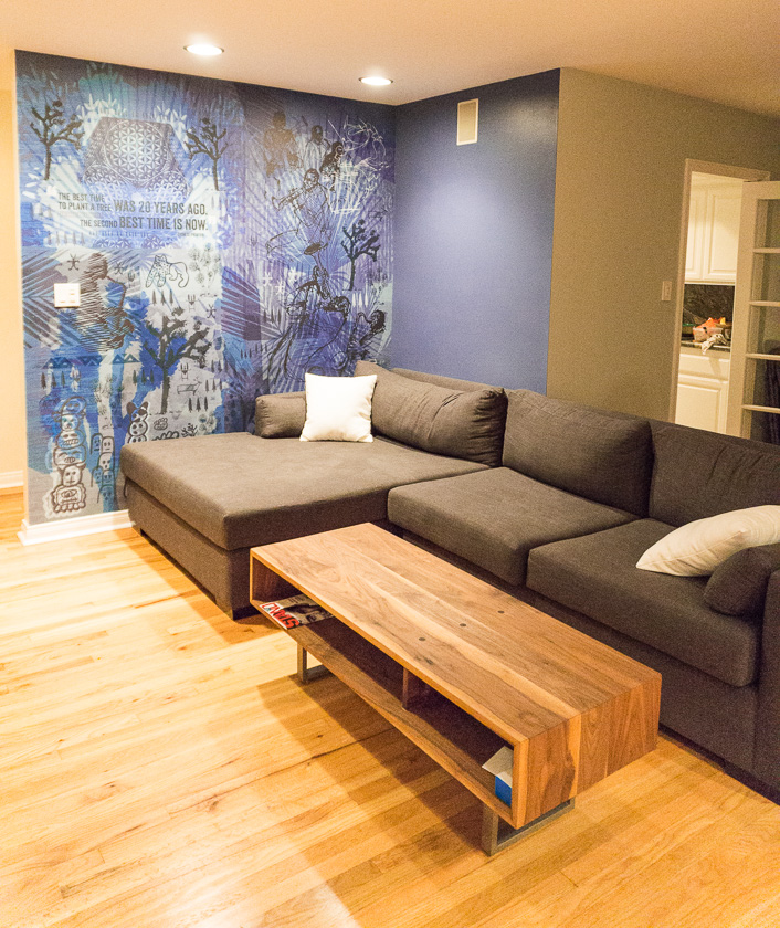 Alexander Sofer Furniture - Custom Sectional Wrap around couch (+ custom daybed &master bed, not pictured)Dogbird Designs: Coffee tableBegson: Art Focal Custom Wallpaper Design