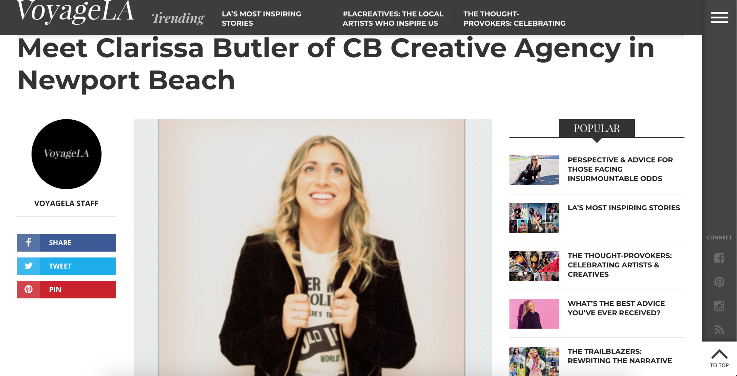 Our very own founder and creative director was featured for her talent for connecting people and her passion as an art curator, interior designer, and brand designer.