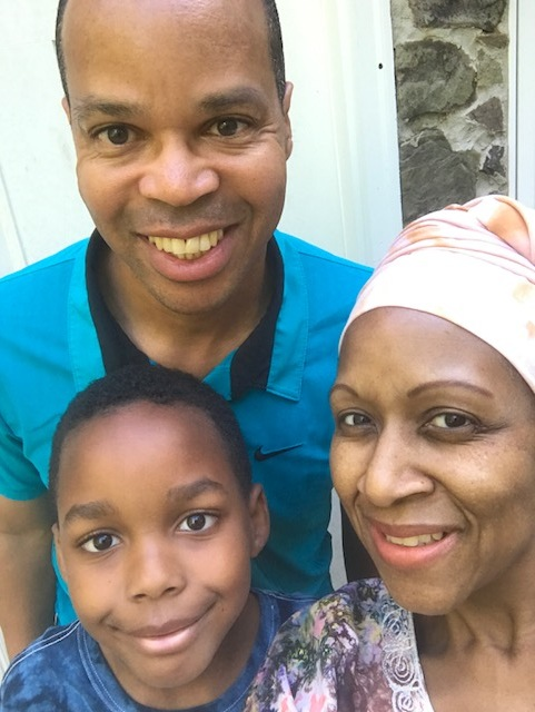 A post-hospital selfie with my husband, Marc, and our nine-year-old son, Amari