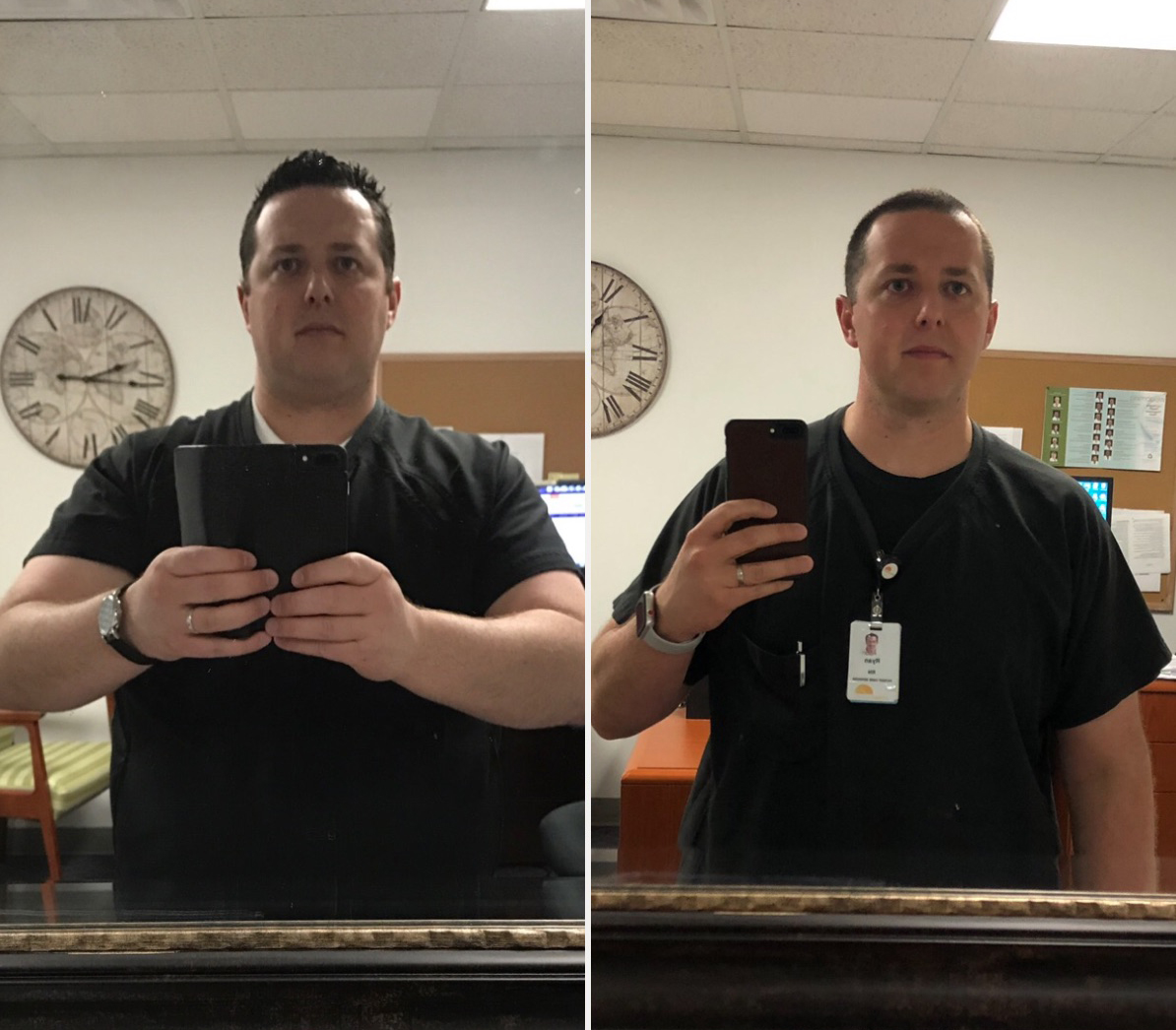 Ryan Graves weight loss and weight maintenance transformation, losing 70 pounds. Left 2017, Right 2019.