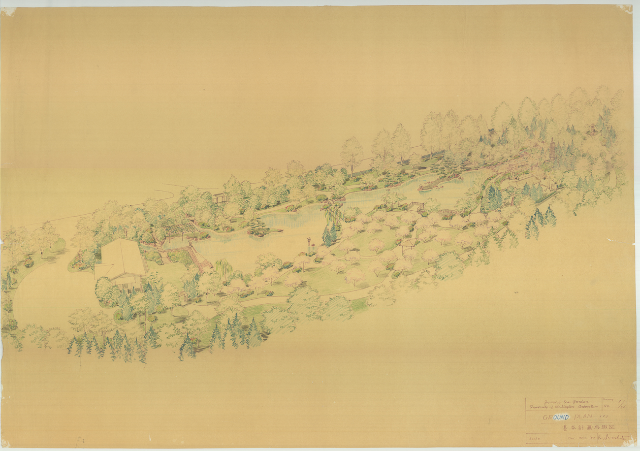 This color rendering is part of the original plan set produced in Tokyo by Iida, Inoshita, and the team designing the garden. The original is safely stored in Seattle, and a scanned image was provided for the exhibit.