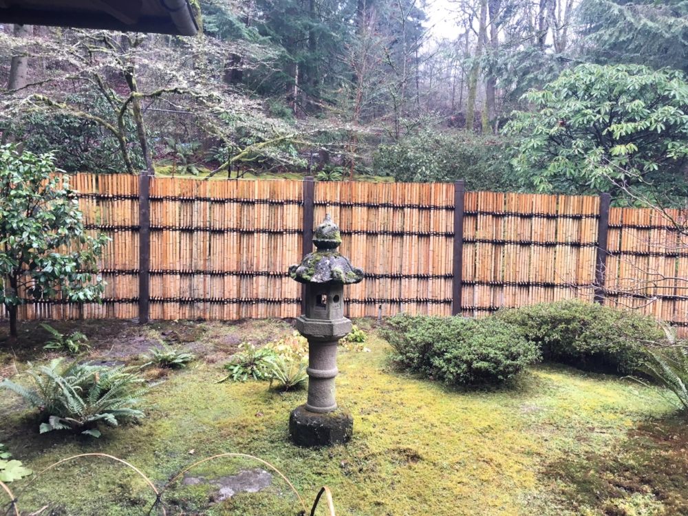 """""""By using a tall, fairly dense fence,"""" says Pete Putnicki, Senior Gardener,""""we are able to create the illusion of more depth through separation and add to the appearance of a Tsubo-niwa enclosed Garden in that area."""""""