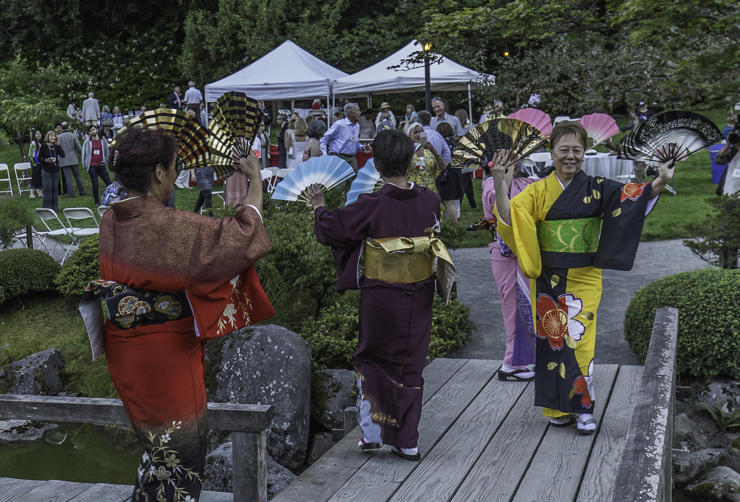 Bon Odori dancers in the garden.