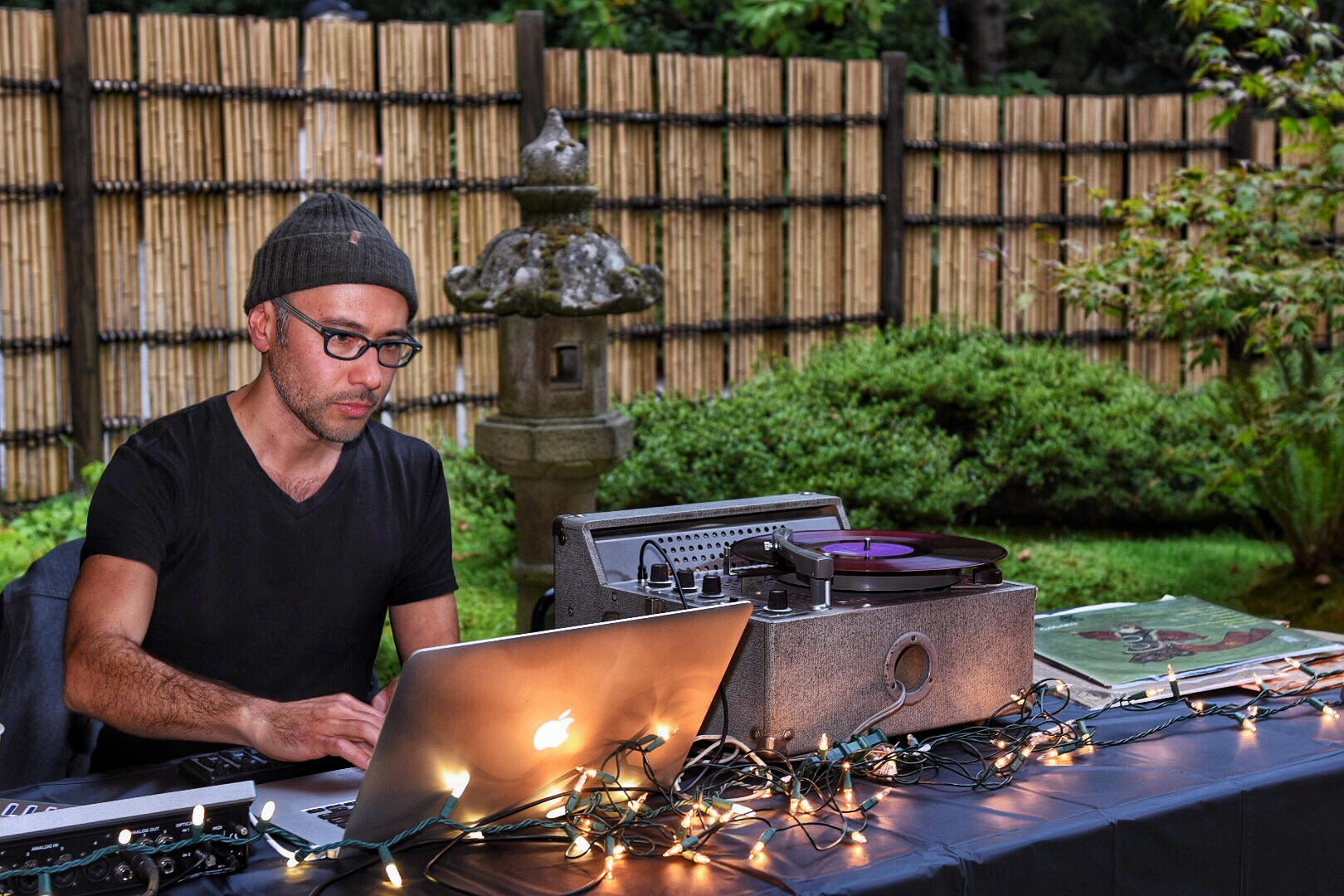 Sound installations by Paul Kikuchi were placed throughout the garden. Kikuchi also played a collection of historic 78RPM records donated to JCCCW over the years. (Photo by Aurora Santiago)