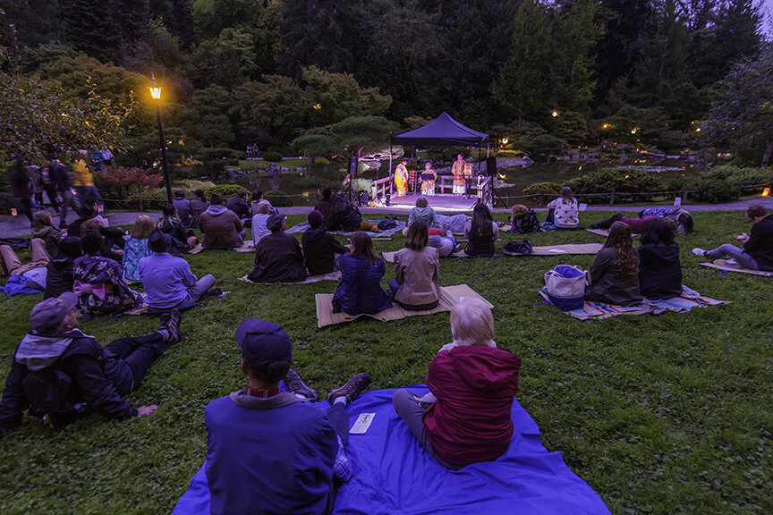 Guests enjoying the garden under the (hidden) full moon (Photo by SlickPix Photography)