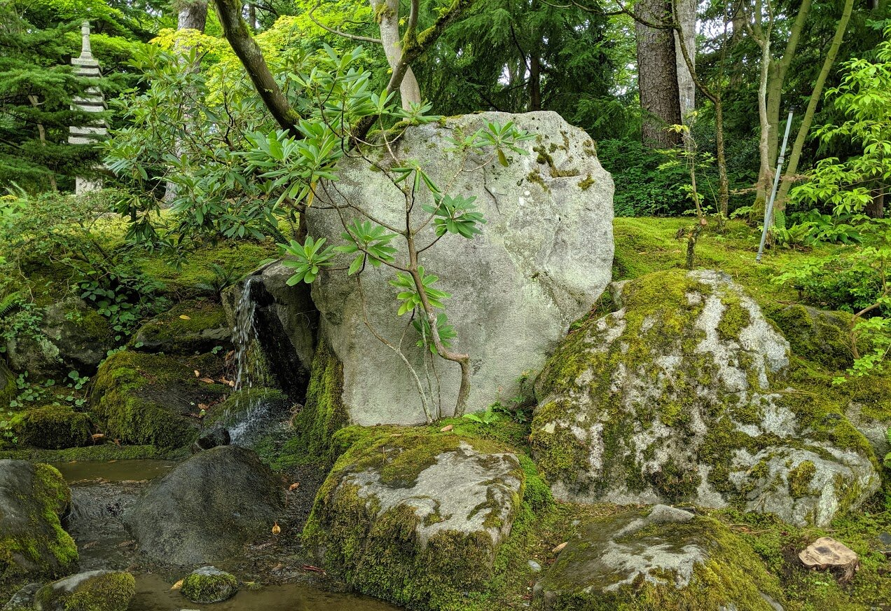 The stones that form the mountain area's waterfall, including its largest & most important 8 ½ ton stone. With time, they have developed traceries of moss. Also visible, in the upper left corner, is an 11-story stone pagoda. (photo: Corinne Kennedy)