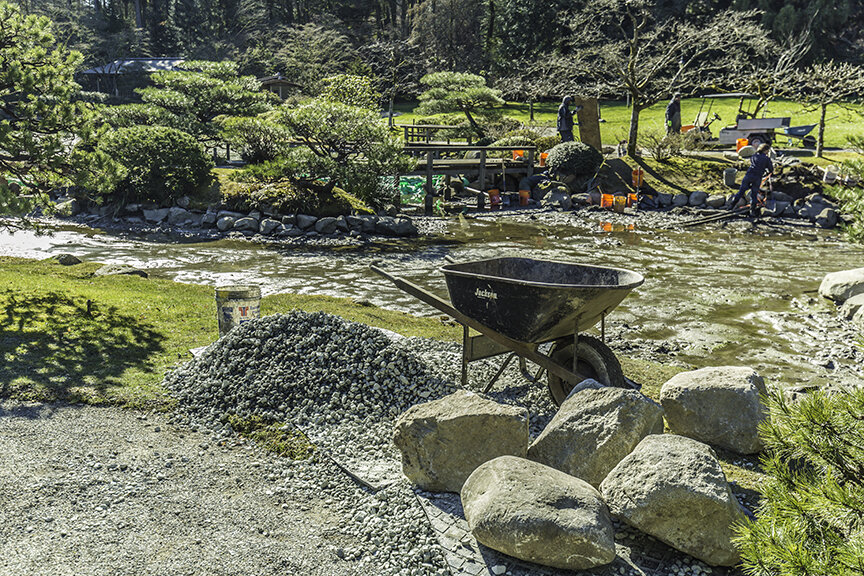 2019 reconstruction of the pond edges in the Seattle Japanese Garden. Bandera granite stones were obtained – the same type used in 1960 to create the garden. (photo: David Rosen/Slickpix Photography)