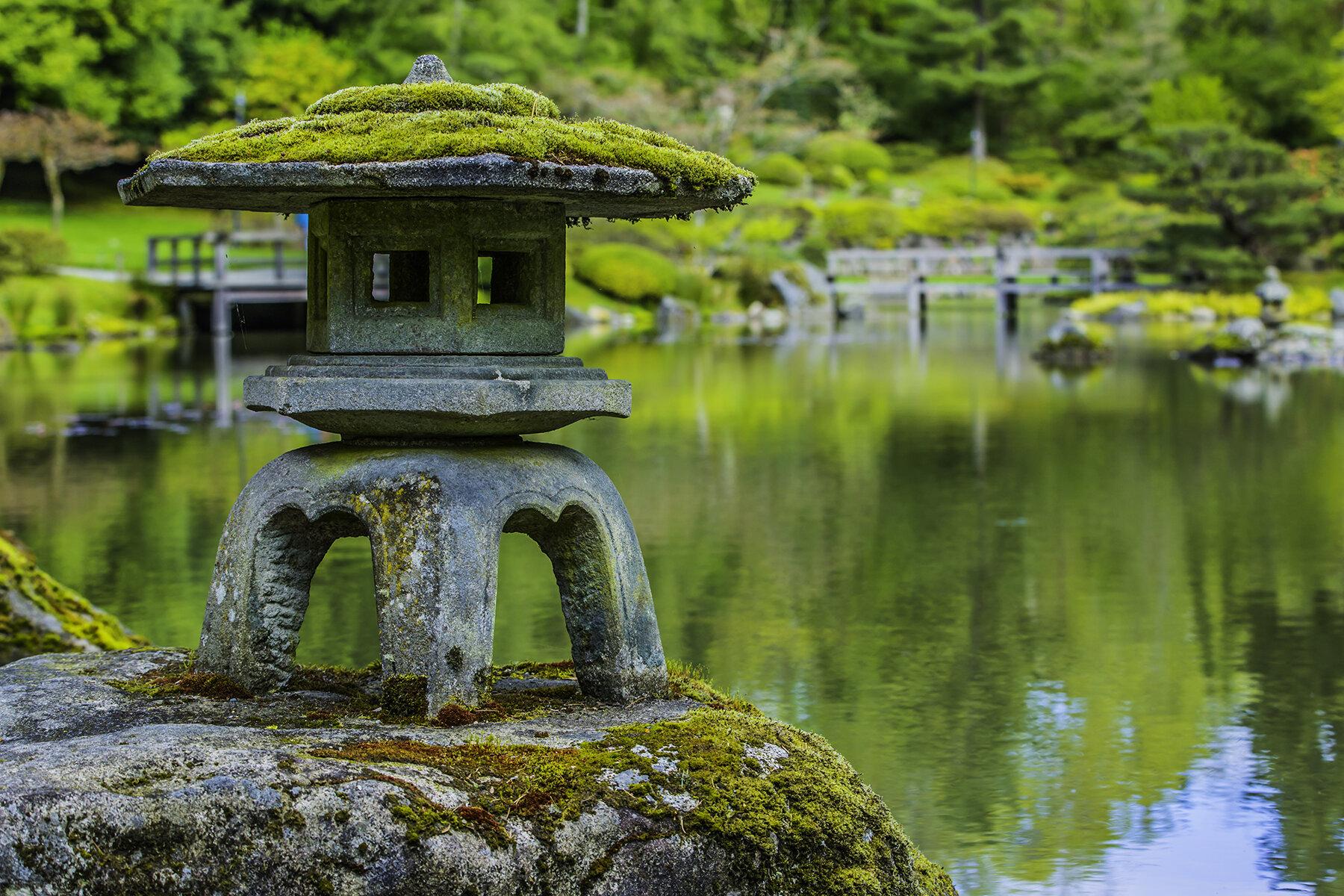 One of the garden's stone lanterns, covered in moss. (photo: David Rosen/SlickPix Photography)