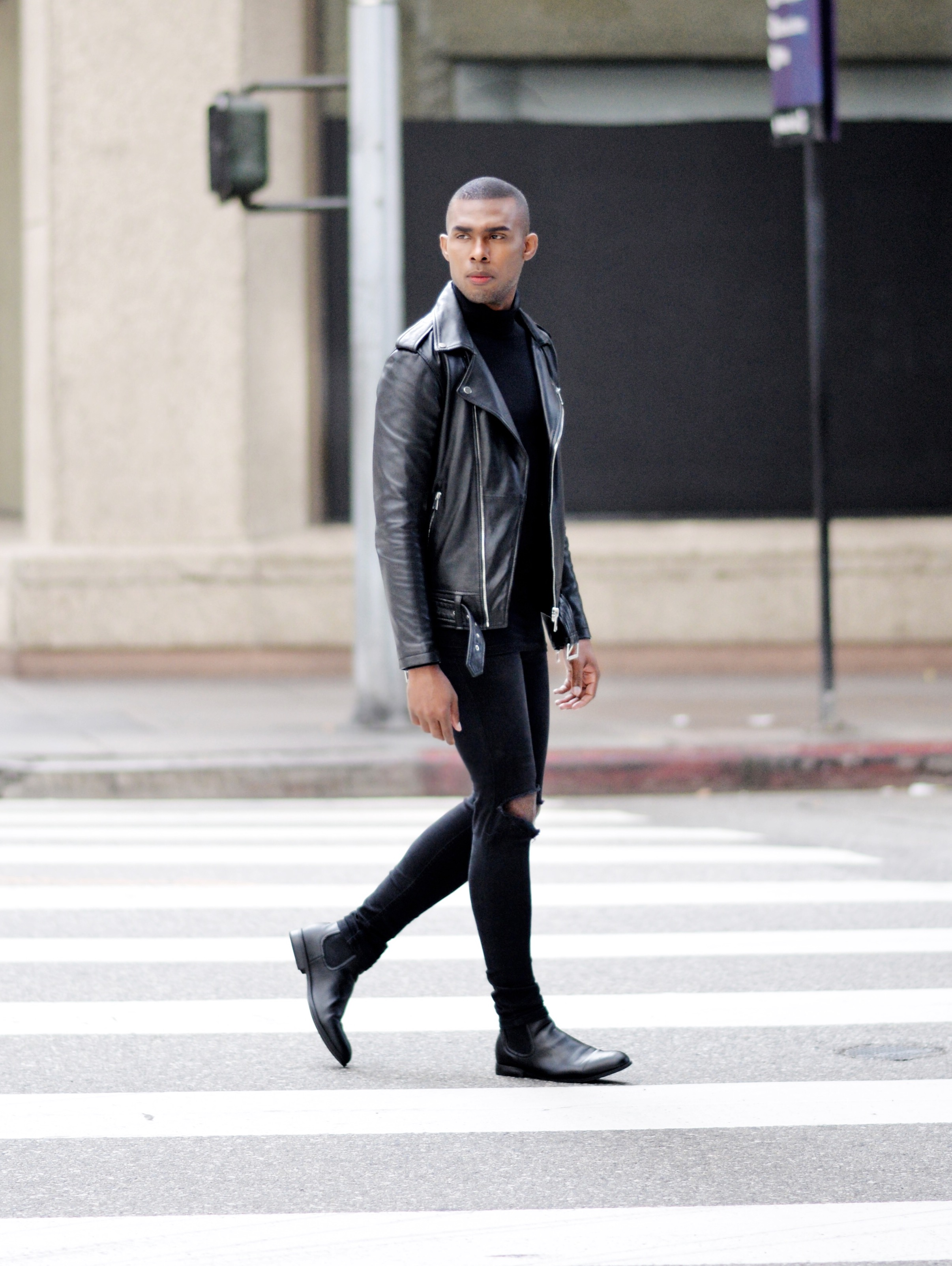 The-Look-Principle-Black-Leather-Biker Jacket-and Ripped-Jeans-