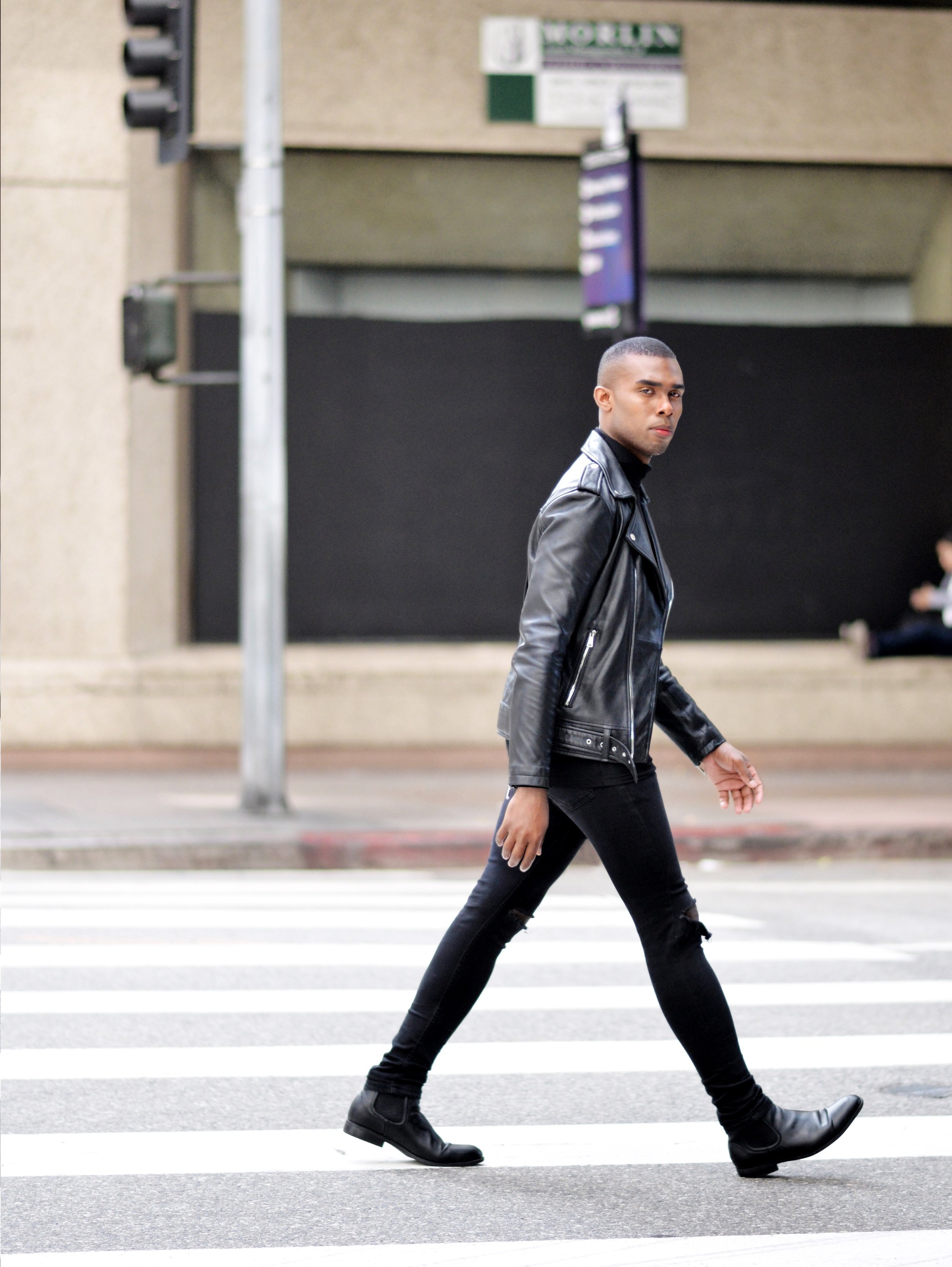 The-Look-Principle-Black-Leather-Biker Jacket-and Ripped-Jeans