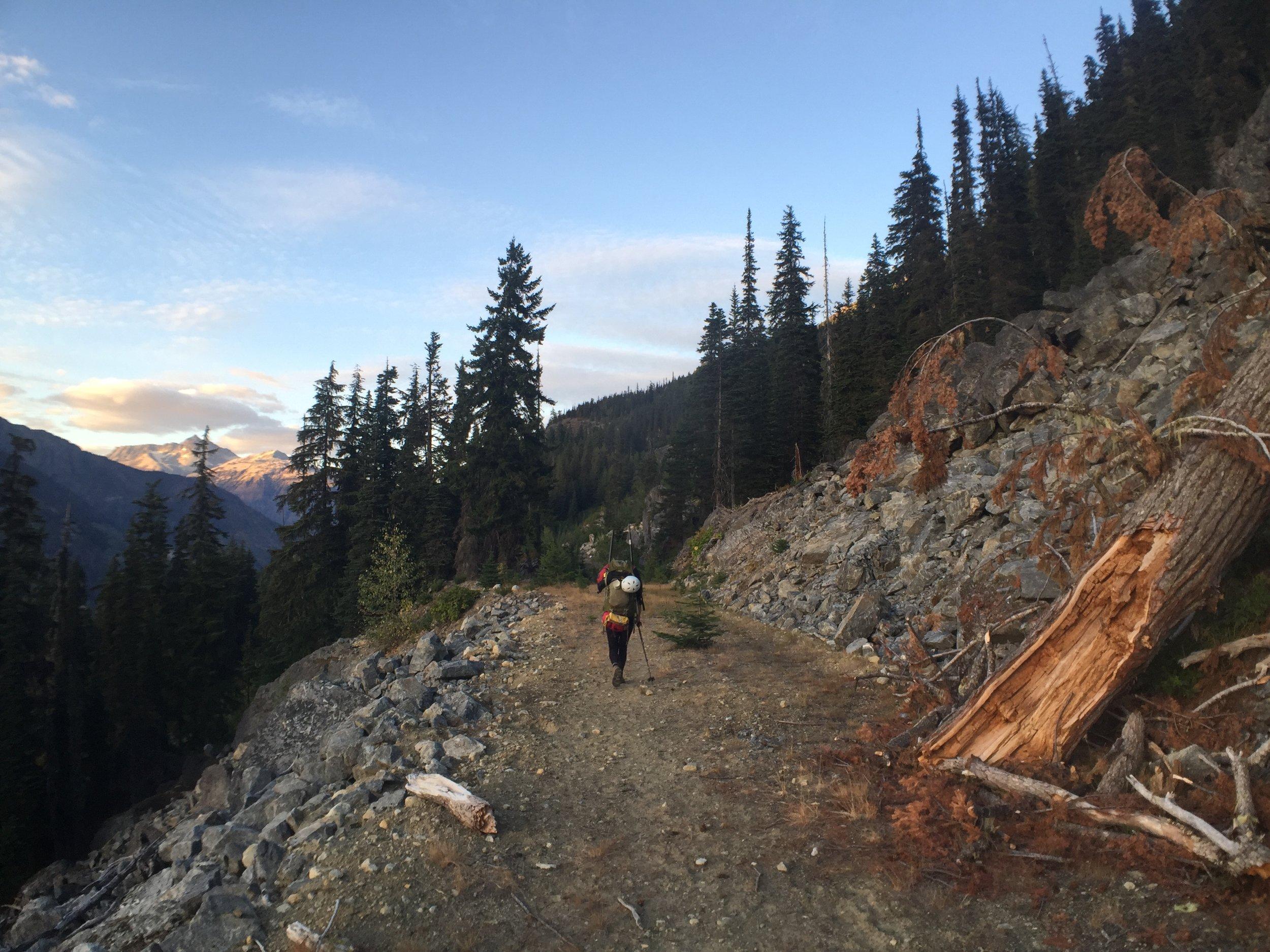Descending to Meager Creek.