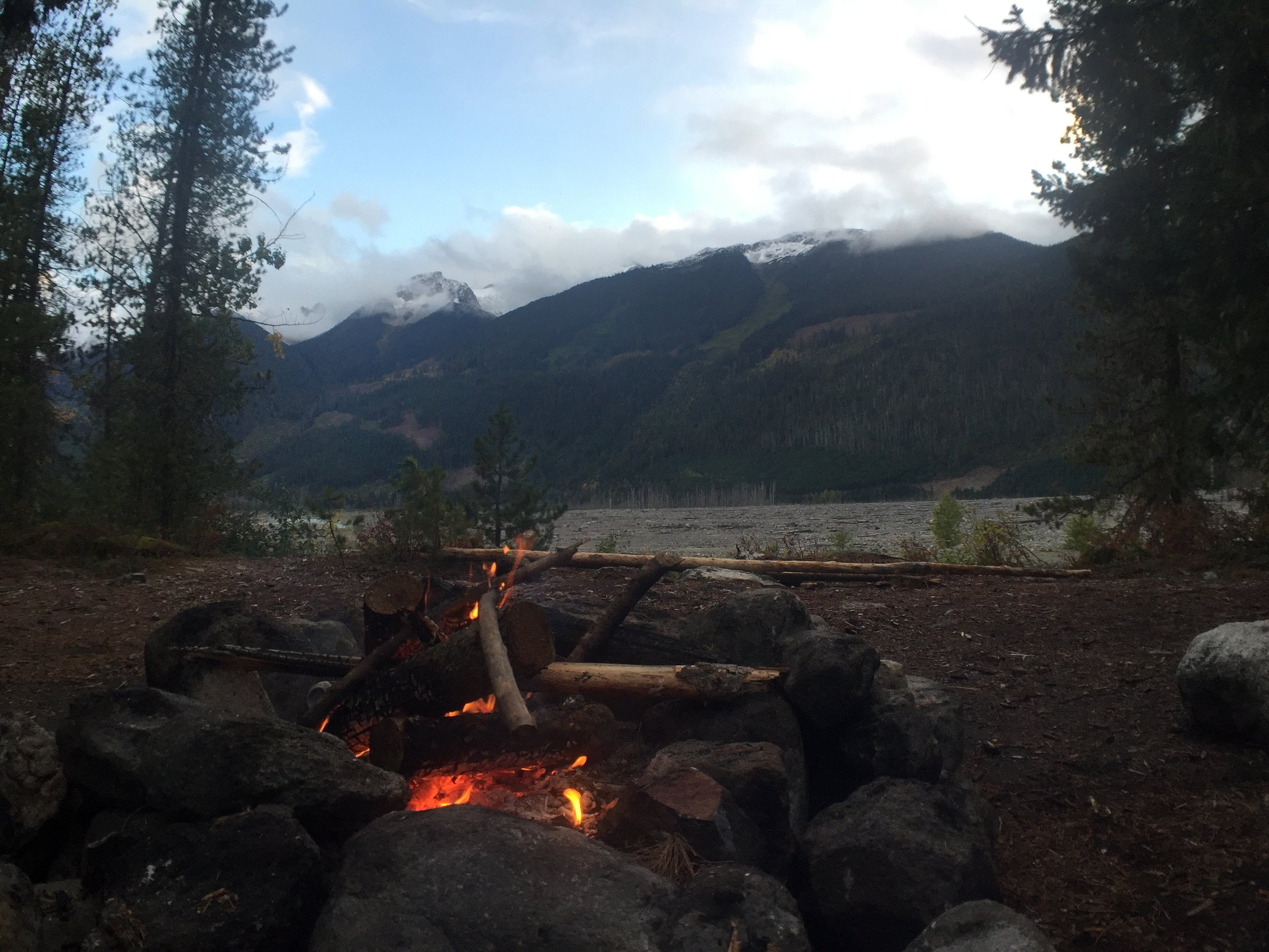Fire looking out over the Lillooet River valley.
