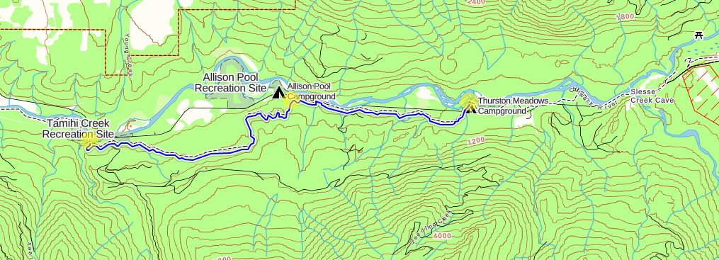 Route map, dark blue is hiking.