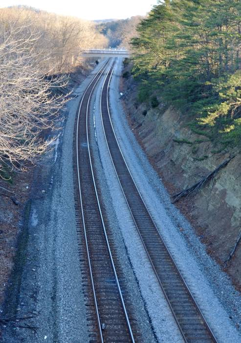 View of CSX tracks from bridge.