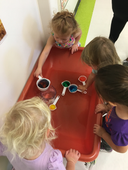 This morning we did some color mixing in the sensory table. I filled cups up with different colored water, then had the kiddos dump and pour and mix the colors together. At the end when it was all mixed into one, it looked like a dark green color. We started with red, blue, yellow, green, purple and clear water. This was a fun sensory and science activity.